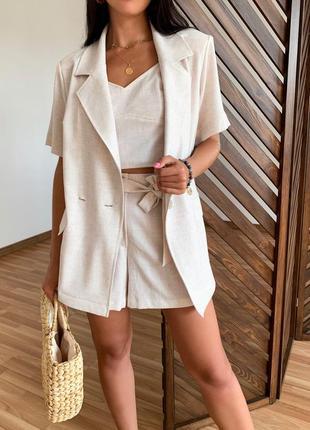 Стильный женский костюм жакет шорты и топ! ткань лен с хлопком цвет молочный меланж