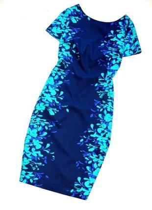 Per una. шикарное платье футляр микс из синего цвета цветочный принт. 2хл. 16