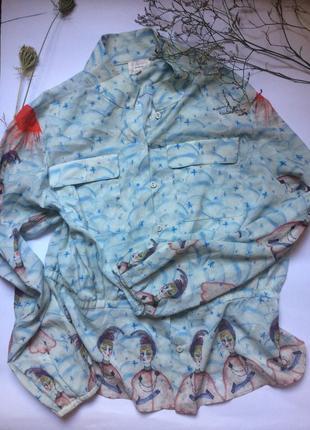 Оригинальная шелковая блуза/рубашка zarina