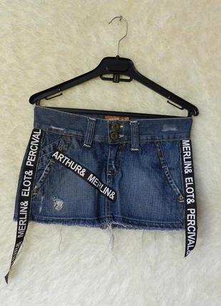 ✅  джинсовая мини юбка с лампасаи