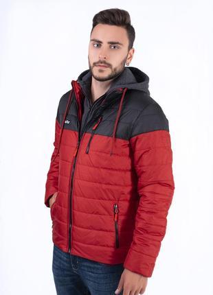 Мужская куртка осень с трикотажным капюшоном terafox!оптом и в розницу