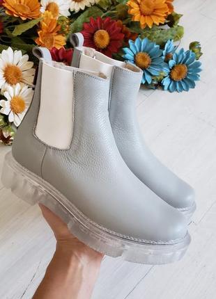 Рр 36-40 осень (зима) натуральная кожа люксовые серые ботинки