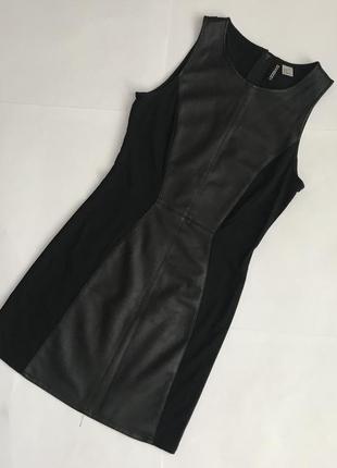 Базова сукня з вставкою з шкірзаму