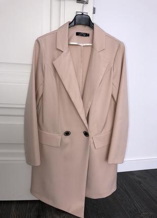 Бежевое платье пиджак плаття-піджак8 фото