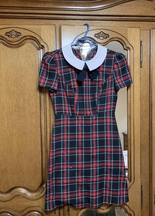 Платье мини в клеточку