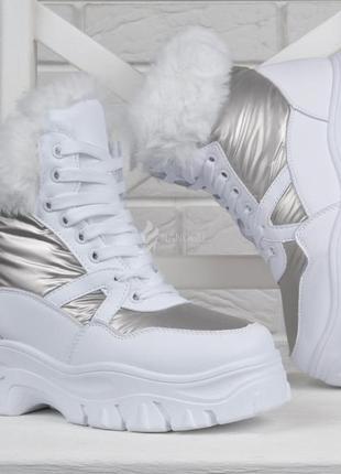 Ботинки женские белые зимние на платформе bella дутые на шнуровке