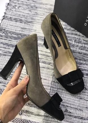 Кожаные/замшевые туфли на устойчивом каблуке albano