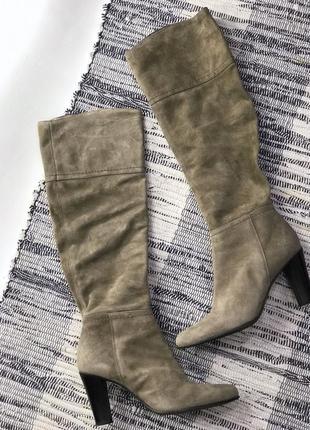 Кожаные, замшевые сапоги на устойчивом каблуке emanuele gelmetti