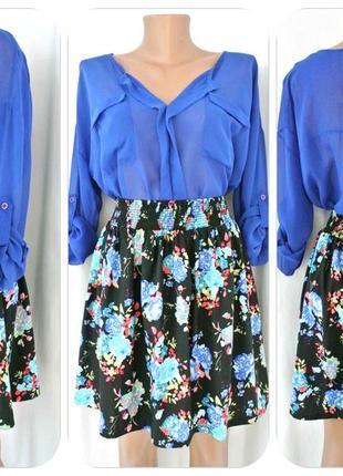 Пышная юбка peacocks в цветочек на резинке. размер uk 12/eur 40.