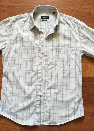 Мужская рубашка в клетку o`stin. рукав короткий. размер 48.