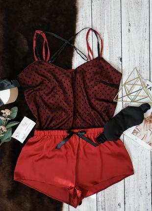 Стильная шелковая пижама с сеткой в горошек