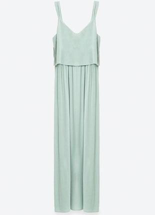 Летнее мятное платье в пол/длинный мятный сарафан с разрезами по бокам zara