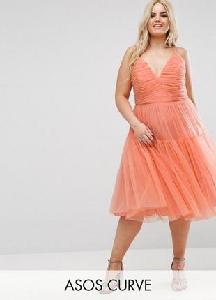 👑♥️final sale 2019 ♥️👑  платье миди для выпускного из тюля asos curve