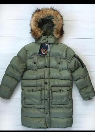Стильное зимнее пальто парка пуховик для мальчика