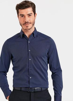 Мужская рубашка синяя lc waikiki / лс вайкики в тонкий голубой принт