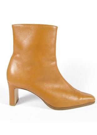 Коричневые ботильоны, ботинки на каблуке,ботинки с узким квадратным носом