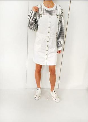 Белый джинсовый сарафан / комбинезон на пуговках  размер 36 s - m