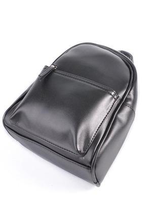 Черный маленький рюкзак женский молодежного типа матовый на плечо3 фото