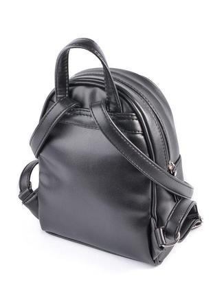 Черный маленький рюкзак женский молодежного типа матовый на плечо2 фото