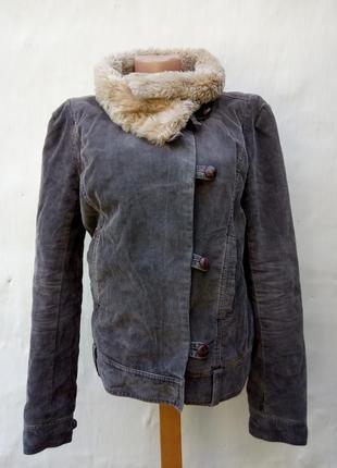 Вельветовая утепленная коротка куртка fcuk jeans,пилот,милитари.