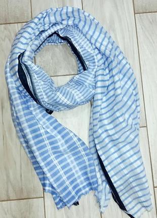 Полосатый голубой палантин шарф zara