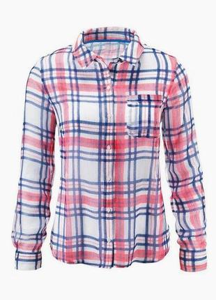 Элегантная шифоновая блузка-рубашка в клетку tcm tchibo германия