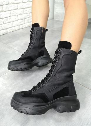 Новинка!кожаные женские ботинки -берцы