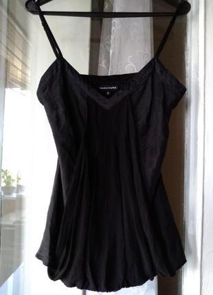 Стильная черная блузка (100% шелк)