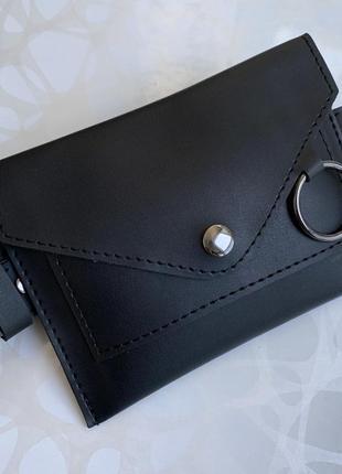 Женская чёрная поясная сумка на пояс на два отделения