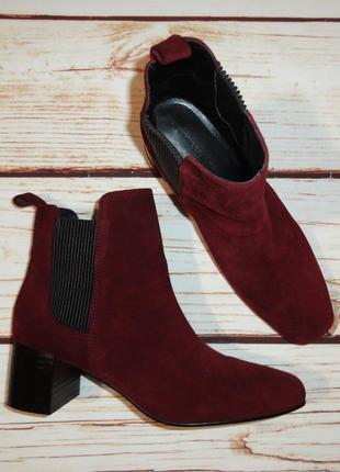 Ботинки челси zara натуральная замша базовые на широком каблуке