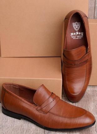 Стильные коричневые рыжие мужские туфли классические без шнурка