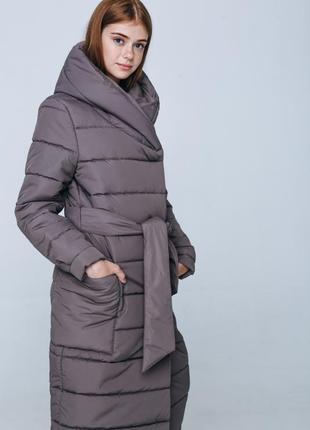 Пуховое пальто с капюшоном season цвета мокко