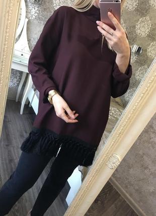Длинная блузка zara с бахромой