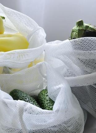 Набір еко-мішечків з трикотажної сітки, фруктовки, эко-мешочки для овощей сумка-пакет