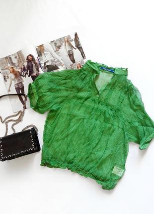 Зеленая шелковая блуза miss poem