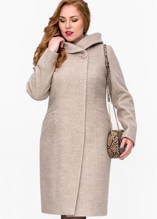 Бежевое пальто с капюшоном меланж (50-62р)