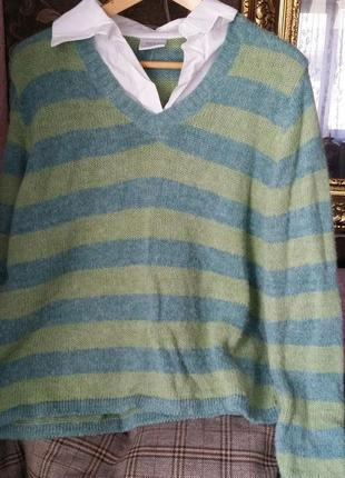 Next джемпер и рубашка обманка.  альпака и шерсть. размер 48 (m-l). madde in italy