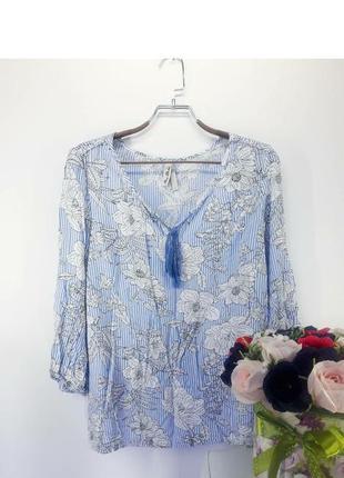 Блуза в квіти та дрібну смужку