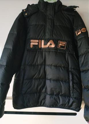 Куртка черная худи fila