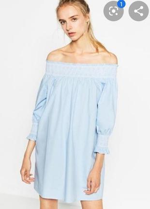 Платье с вышивкой открытыми плечами zara3 фото