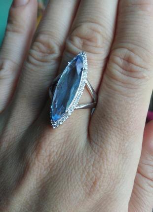 Кольцо синее 18 размер
