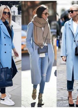 Шикарное нежно-голубое шерстяное пальто оверсайз mango