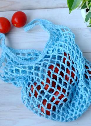 Сумка-авоська голубая, эко-сумка, сетка, сумка для покупок 08