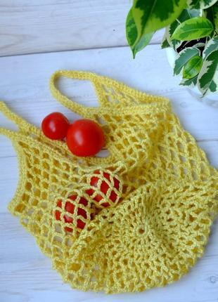 Сумка-авоська желтая, эко-сумка, сетка, сумка для покупок 08