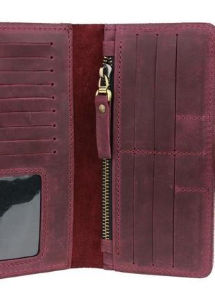 Кожаный бордовый марсала кошелек ручной работы