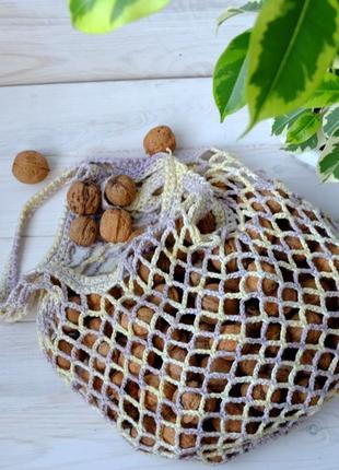 Сумка-авоська меланж, эко-сумка, сетка, сумка для покупок 09, большой выбор цветов