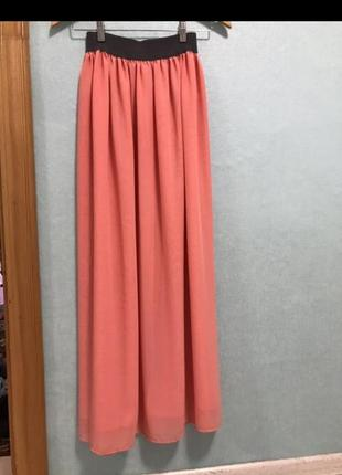 Юбка в пол шифон, летняя длинная юбка, юбка макси