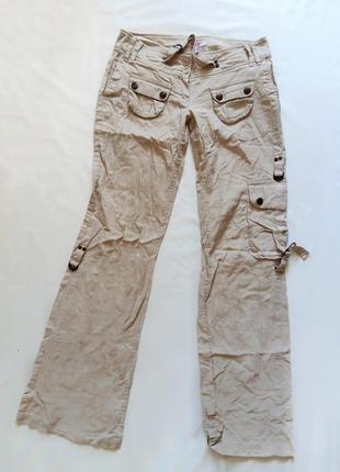 Бежевые брюки с карманами jennifer