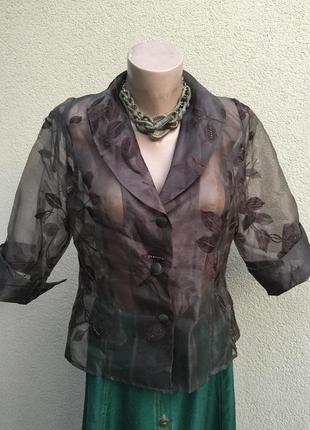 Прозрачная блуза,жакет,пиджак из органзы,большой размер,alex & co.