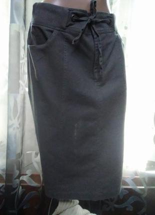 Классная стильная льняная юбка большого размера